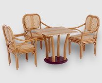 View Dining Set - Neptune Chairs, Around Fabric Top, Multip Pillars Table