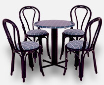 View Dining Set - Marine Chairs with Black Webbing and arms around a multi pillars table