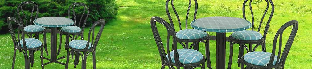 Dining Set G - Marine Chairs with Black Webbing and arms around a multi pillars table