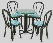 View Dining Set G - Marine Chairs with Black Webbing and arms around a multi pillars table
