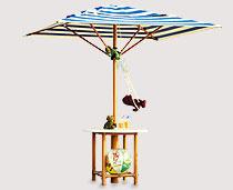 View 4 Sticks Umbrella Structure With Ferrari Fabric & Table Top